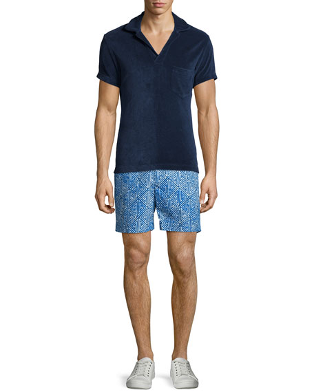 Orlebar Brown Terry Towel Short-Sleeve Polo Shirt, Navy