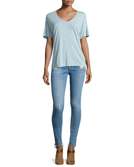 rag & bone/JEAN Low-Rise Distressed Skinny Jeans, Everton