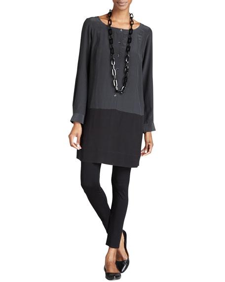 Eileen Fisher Silk Colorblock Tunic/Dress, Petite