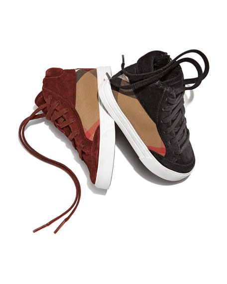 Burberry Haypark Mini Check High-Top Sneaker, Black/Tan, Toddler