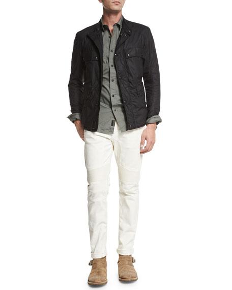 Belstaff Steven Long-Sleeve Military-Style Shirt, Agave