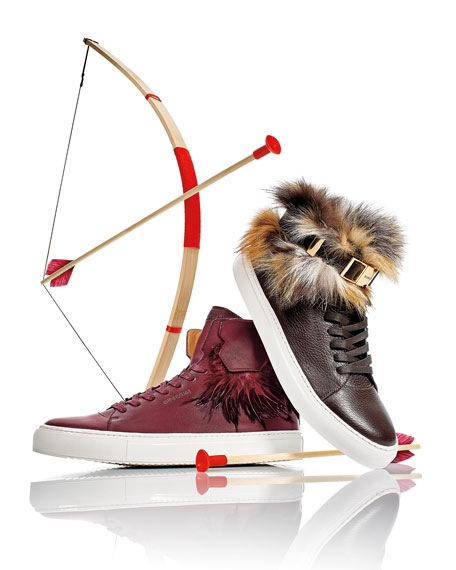 Buscemi125mm Leather High-Top Sneaker with Feathers, Burgundy
