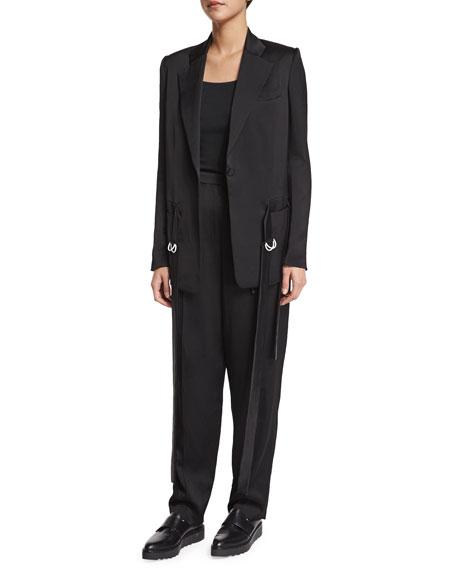 Edun Notched-Collar Waist-Tie Jacket, Black