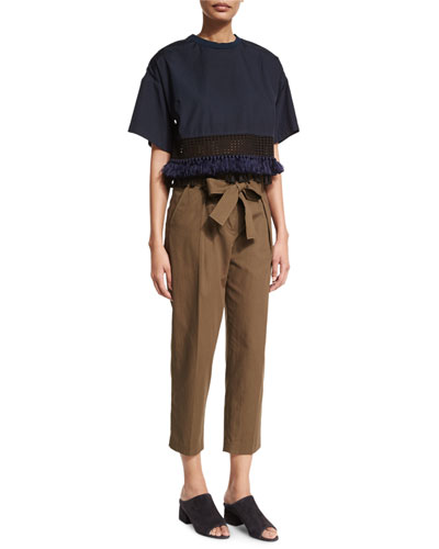 Boxy Cropped Cotton Tee & Paperbag-Waist Ankle Trousers