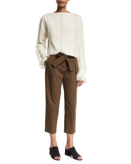 3.1 Phillip Lim Cropped Fringe-Trim Pullover Sweater, Ivory
