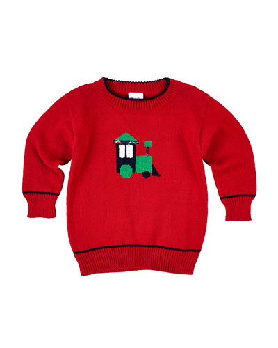 Cotton Train Pullover Sweater, Red