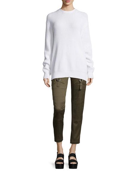 Alexander Wang Long-Sleeve Flyaway-Back Ribbed Sweater, Silica