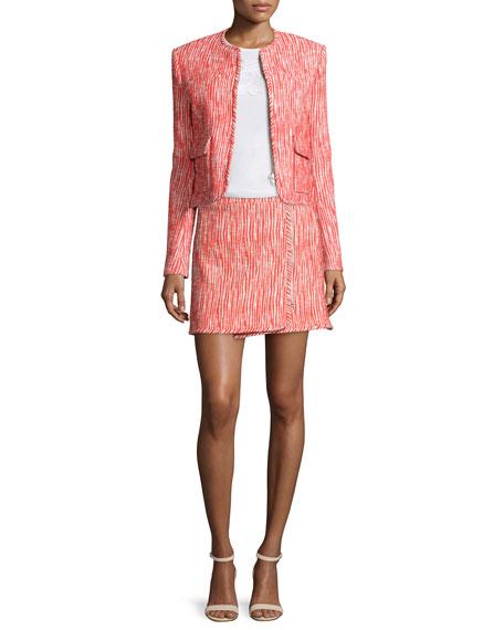 Carven Tweed Zip-Front Skirt, Poppy