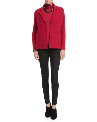 Eileen Fisher Lightweight Boiled Wool Shaped Jacket, Scrunch-Neck