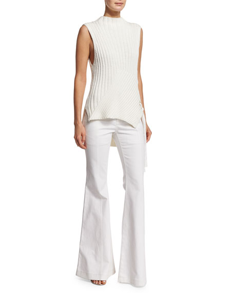 Derek Lam 10 Crosby Sleeveless Ribbed-Knit Sweater, Soft