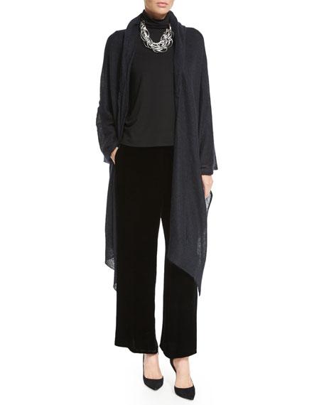 Eileen Fisher Long-Sleeve Scrunch-Neck Top, Black