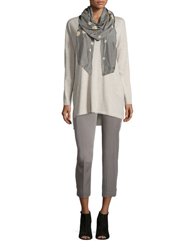 Organic Cotton Tunic with Pockets, Slim Tank, Silk Constellation Scarf & Twill Ankle Pants, Petite