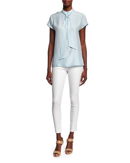 FRAME DENIM Le Skinny Leather Pants, Blanc