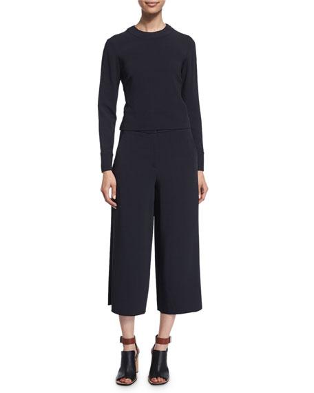 Maiyet Long-Sleeve Tie-Back Sweatshirt, Navy