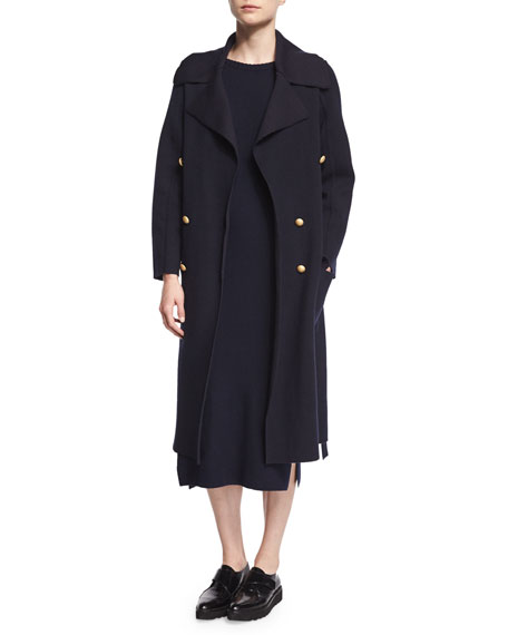 Maiyet Double-Breasted Cashmere/Wool Trenchcoat, Navy