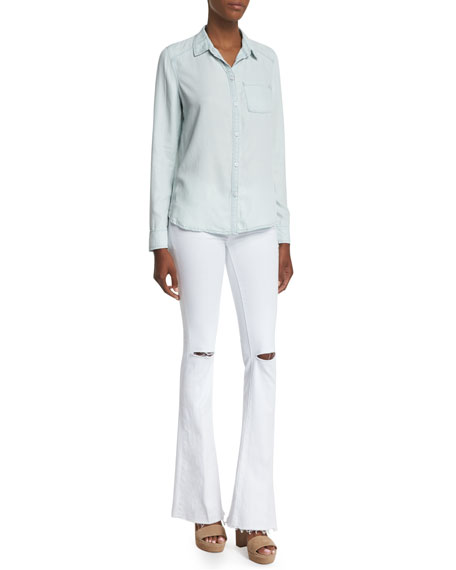 Paige Denim Tate Button-Front Chambray Shirt, Reese