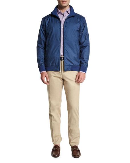 Peter Millar Geometric-Print Long-Sleeve Sport Shirt, Blue