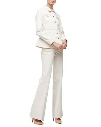 Long-Sleeve Peplum Jean Jacket & High-Waist Flare-Leg Jeans, Ivory