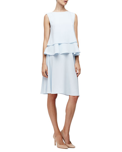 Sleeveless Layered-Hem Top & Mid-Rise Crepe A-Line Skirt, Baby Blue