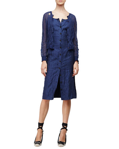 Long-Sleeve Cropped Cardigan & Sleeveless Button-Front Patio Dress, Navy