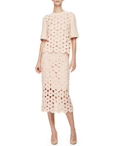 Half-Sleeve Crochet Top & Crochet Midi Pencil Skirt, Blush