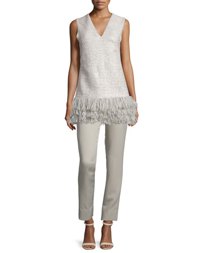 Sleeveless Fringe-Hem Top & Catherine High-Waist Skinny Pants