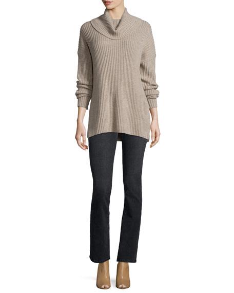 Current/Elliott Long-Sleeve Turtleneck Ribbed Sweater, Marbled