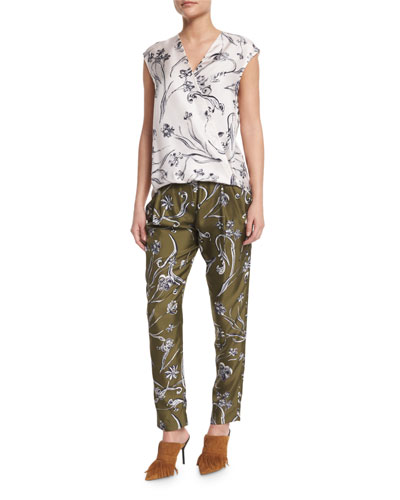 Floral Silk Surplice Top & Tapered Trousers