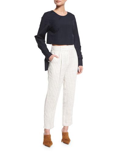 Long-Sleeve Cropped Poplin Top & Pinstripe Linen Carrot Pants