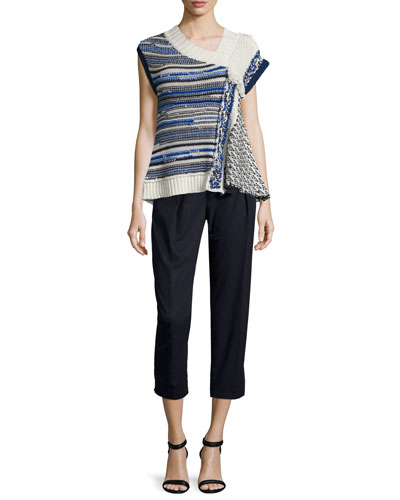 Draped Wool-Blend Top & Paperbag-Waist Ankle Trousers