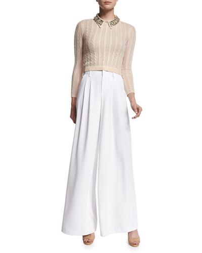 Tamsin Cropped Cable-Knit Sweater & High-Waist Wide-Leg Trousers