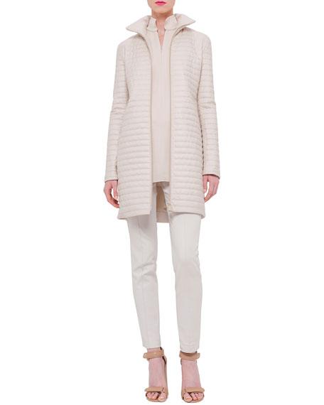 Akris Quilted Cashmere Zip-Front Coat, Ranunculus