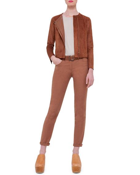AkrisSuede Asymmetric-Zip Jacket, Caramel