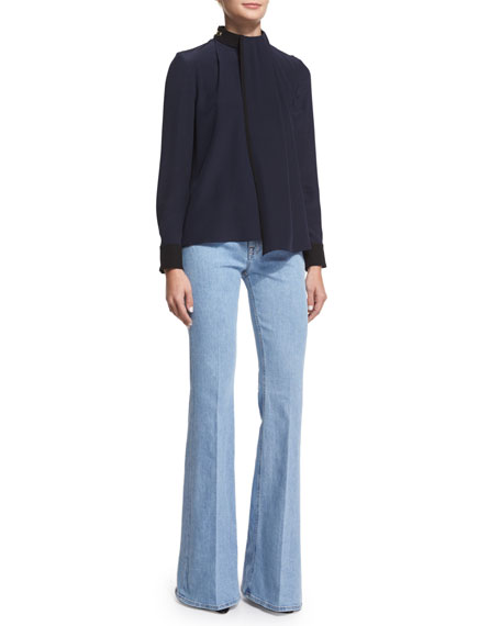 Victoria Victoria Beckham Long-Sleeve Draped-Front Blouse, Navy/Black