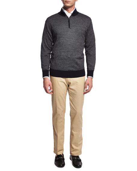 Peter Millar Cashmere-Blend Quarter-Zip Birdseye Sweater, Dark