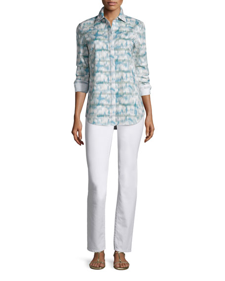 Lafayette 148 New York Brody Long-Sleeve Printed Blouse