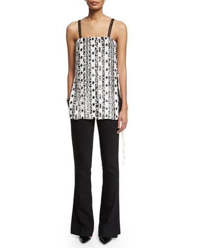 Silk Sequined Bohemian Tank & Slimming Side-Slit Pants