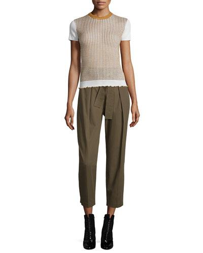 Short-Sleeve Shrunken Wool-Blend Tee & Paperbag-Waist Ankle Trousers
