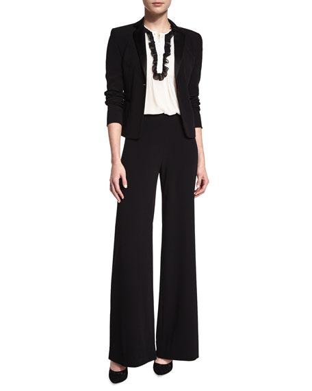 Diane von Furstenberg Betsy Silk Tuxedo Top, Ivory/Black