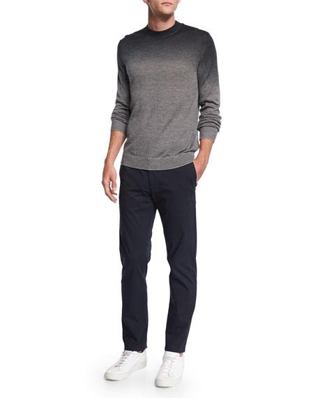 Theory Remsey Dip-Dye Crewneck Sweater, Gray Heather