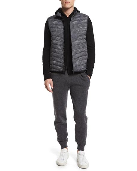TheoryCorick Printed Lightweight Puffer Vest, Black Multi