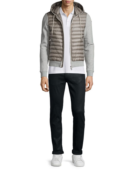 Moncler Quilted Hoodie W/Knit Combo, Medium Gray