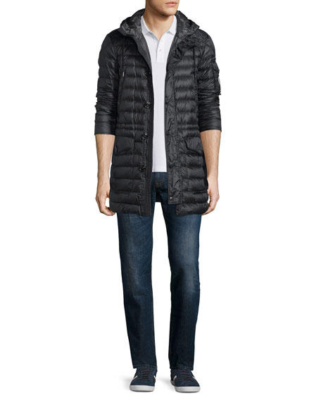Moncler Benjamin Quilted Long Puffer Coat, Black