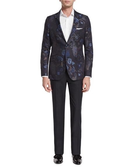 Etro Degrade Herringbone Two-Button Jacket, Blue