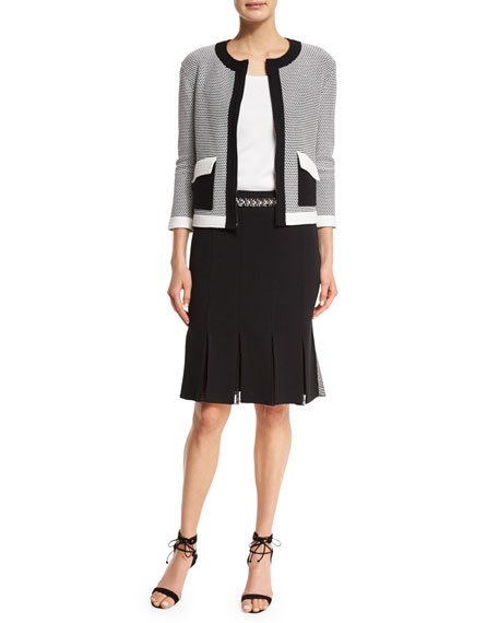 St. John Collection Hooked Cord Knit Zip Jacket,