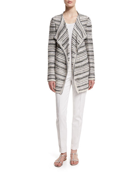 St. John Collection Belessa Striped Side-Slit Cardigan,