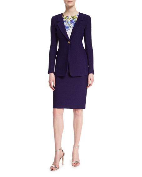 St. John Collection Windy Knit Rever-Collar Jacket, Viola