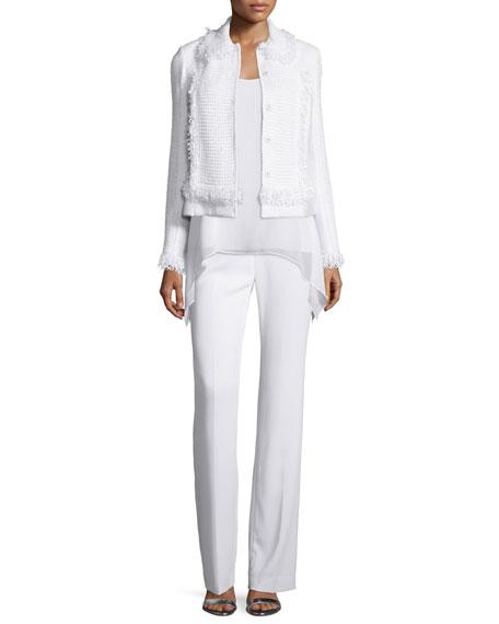St. John Collection Zimmari Fringe Bracelet-Sleeve Jacket, Bianco