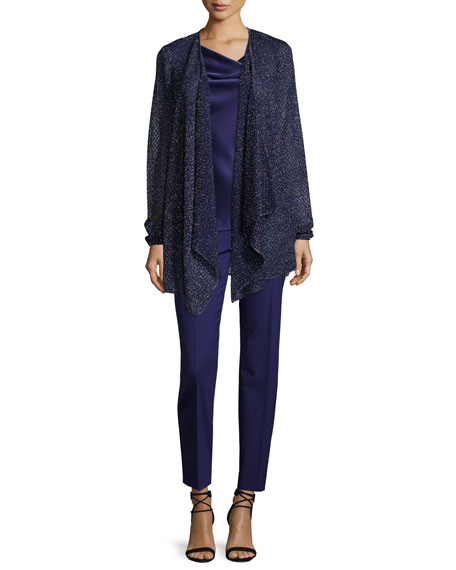 St. John Collection Natali Shimmery Artisan Cardigan, Viola
