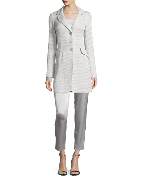 St. John Collection Allure Shimmery Knit Three-Button Jacket,